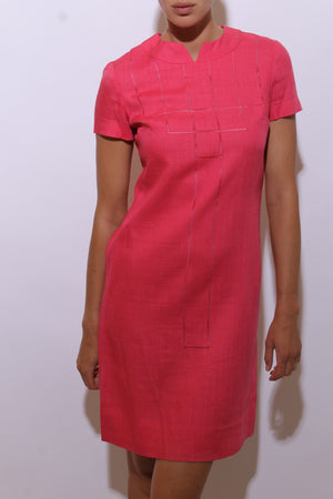 40221daf418 vintage 1950 s 50 s hot pink linen dress fitted midi cutout geometric  design S-M