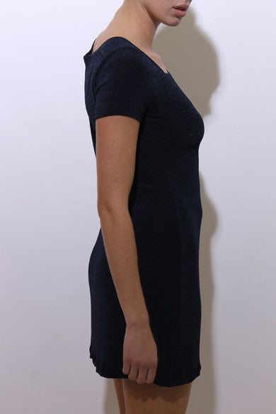 vintage 1990's 90's navy blue stretchy mini dress short sleeve square neckline solid dark color block S-M