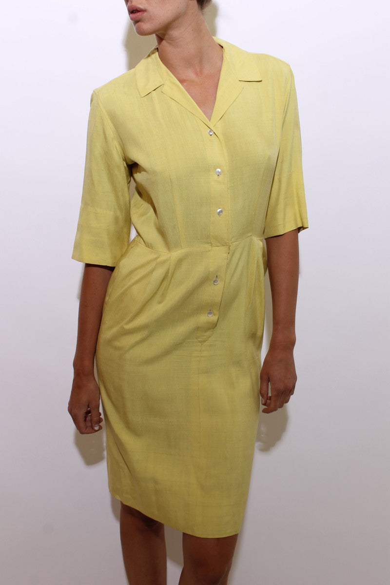 vintage 1960's 60's yellow silk shirtdress 3/4 sleeves button down midi dress pockets M-L