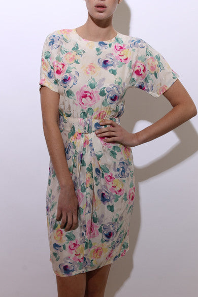 vintage 1980's 80's cream silk floral midi dress pastel flowers printed embossed pleated S-M