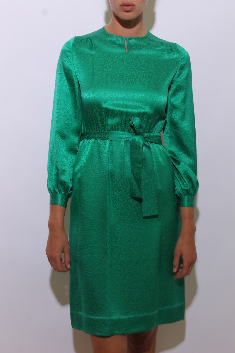 vintage 1960's 60's emerald green silk dress satin long sleeve embossed clouds pattern midi S-M