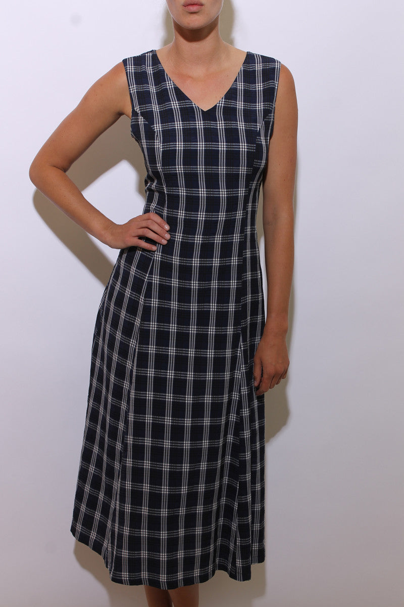 vintage 1990's 90's sleeveless navy maxi dress blue crinkle textured black and white plaid print M-L