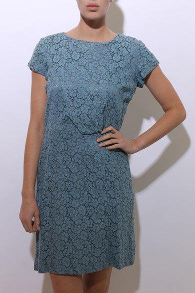 vintage 1940's 40's blue floral lace dress short sleeves fitted waist gathered maxi gown M-L