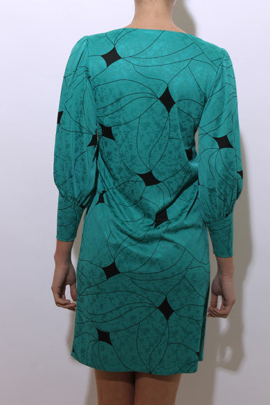 SOLD vintage 1980's 80's teal and black abstract pattern embossed stained glass print balloon sleeves boatneck S-M