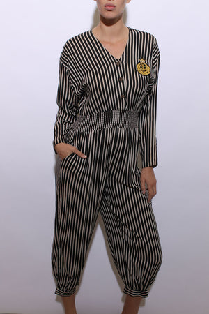 vintage 1980's 80's nautical jumpsuit black white stripes anchor gold crest patch sailor M-L
