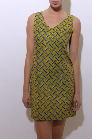 vintage 1960's 60's sleeveless mini dress yellow printed cotton sundress tribal fitted M-L
