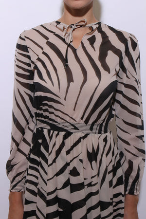 vintage 1970's 70's semi sheer zebra print midi dress long sleeve E15