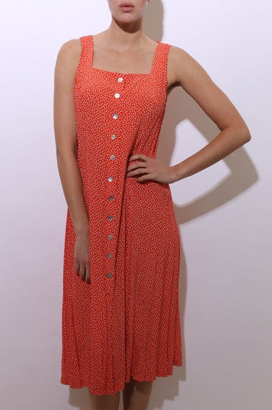 vintage 1990's 90's polka dot sundress sleeveless coral white red maxi dress L-XL