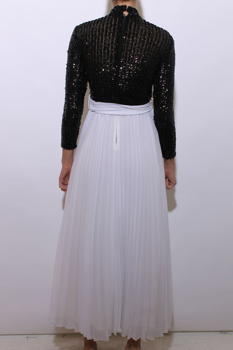 vintage 1960's 60's black and white gown formal maxi dress pleated chiffon embellished sequins e2