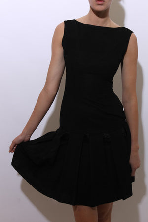 vintage 1960's 60's black tiered dress bow satin ribbon textured sleeveless lbd party XS-S