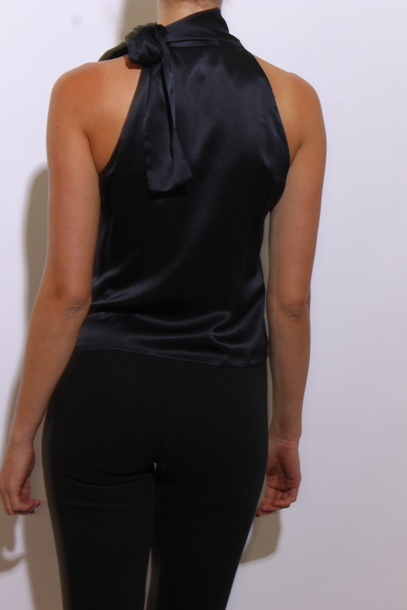 vintage 1990's 90's dark blue silk top sleeveless midnight navy asymmetric neck tie S-M