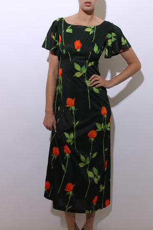 vintage 1960's dark green floral print maxi dress orange roses flowers full length gown S-M