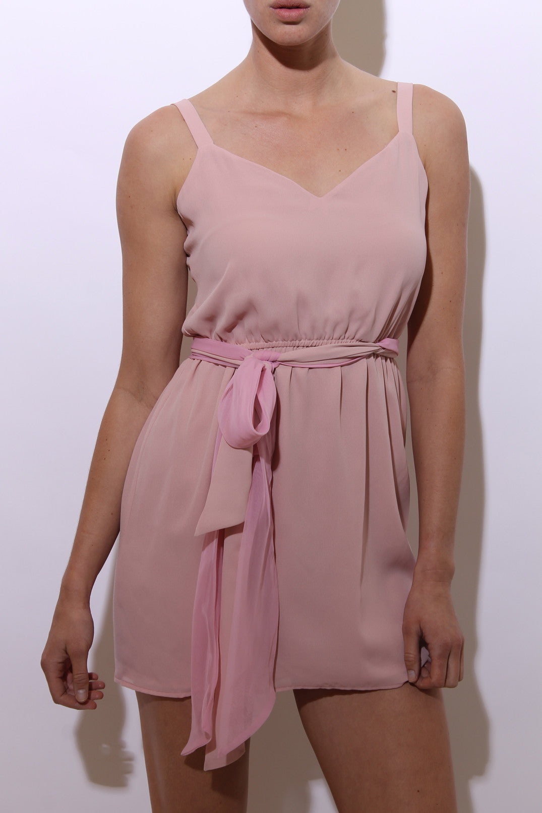 vintage 1970's 70's pastel pink chiffon mini dress tie belt sash sleeveless E26
