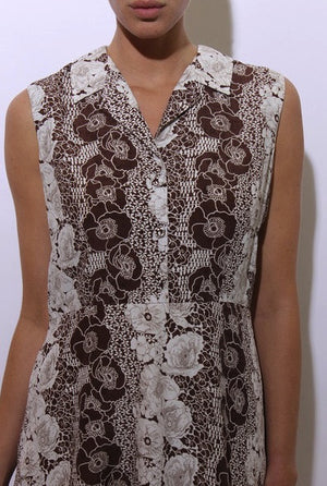 vintage 1960's 60's brown and white floral print midi sun dress sleeveless shirtdress L-XL