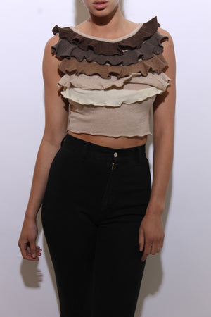 vintage 1990's 90's cropped sweater top ruffled tiers brown ombre ruffles cream tan beige knit wool crop shirt S-M