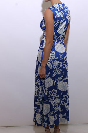 vintage 1970's 70's blue floral maxi dress sleeveless cobalt hippie asian inspired S-M