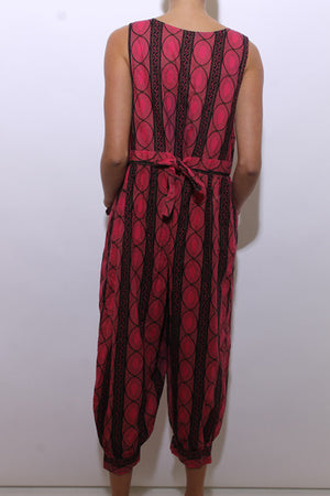 vintage 1980's 80's tribal print pink jumpsuit one piece jumper playsuit outfit african L-XL