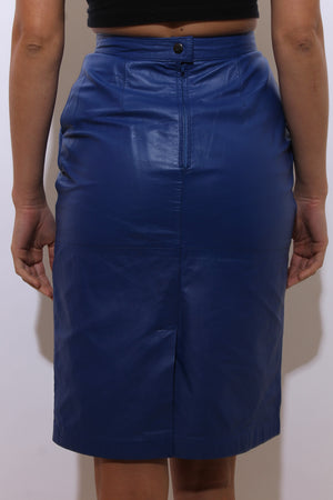 vintage 1980's 80's bright blue leather pencil skirt high waist fitted genuine real leather sexy XS-S