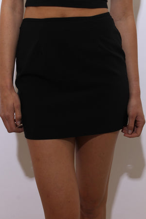 vintage 1990's 90's micro mini skirt solid black stretch club wear M-L