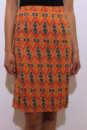 vintage 1980's 80's orange ikat print pencil skirt fitted high waist above knee tribal green white XS-S