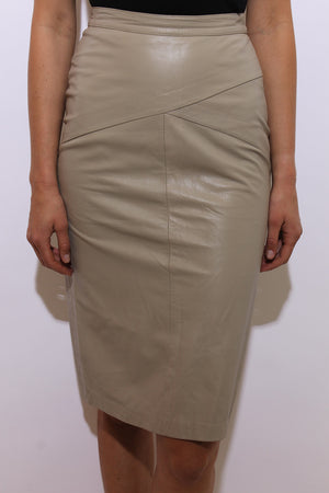 vintage 1980's 80's beige leather skirt high waist fitted pencil knee length neutral S-M