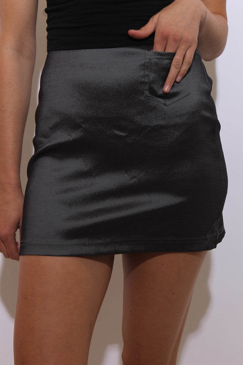 vintage 1990's 90's dark metallic silver micro mini skirt body con fitted tight sexy stretchy XS-S