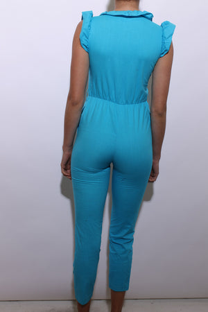 vintage 1970's 70's bright blue jumpsuit cotton ruffled straight leg romper XS-S