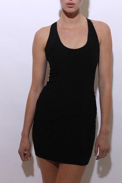 vintage 1980's 80's black cage back mini dress sleeveless fitted E21