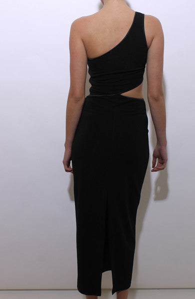 vintage 1990's 90's black cutout body con maxi dress one shoulder asymmetric e4