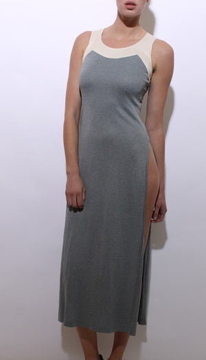 vintage 1970's 70's sleeveless gray maxi dress cream long side slits full length gown XS-S