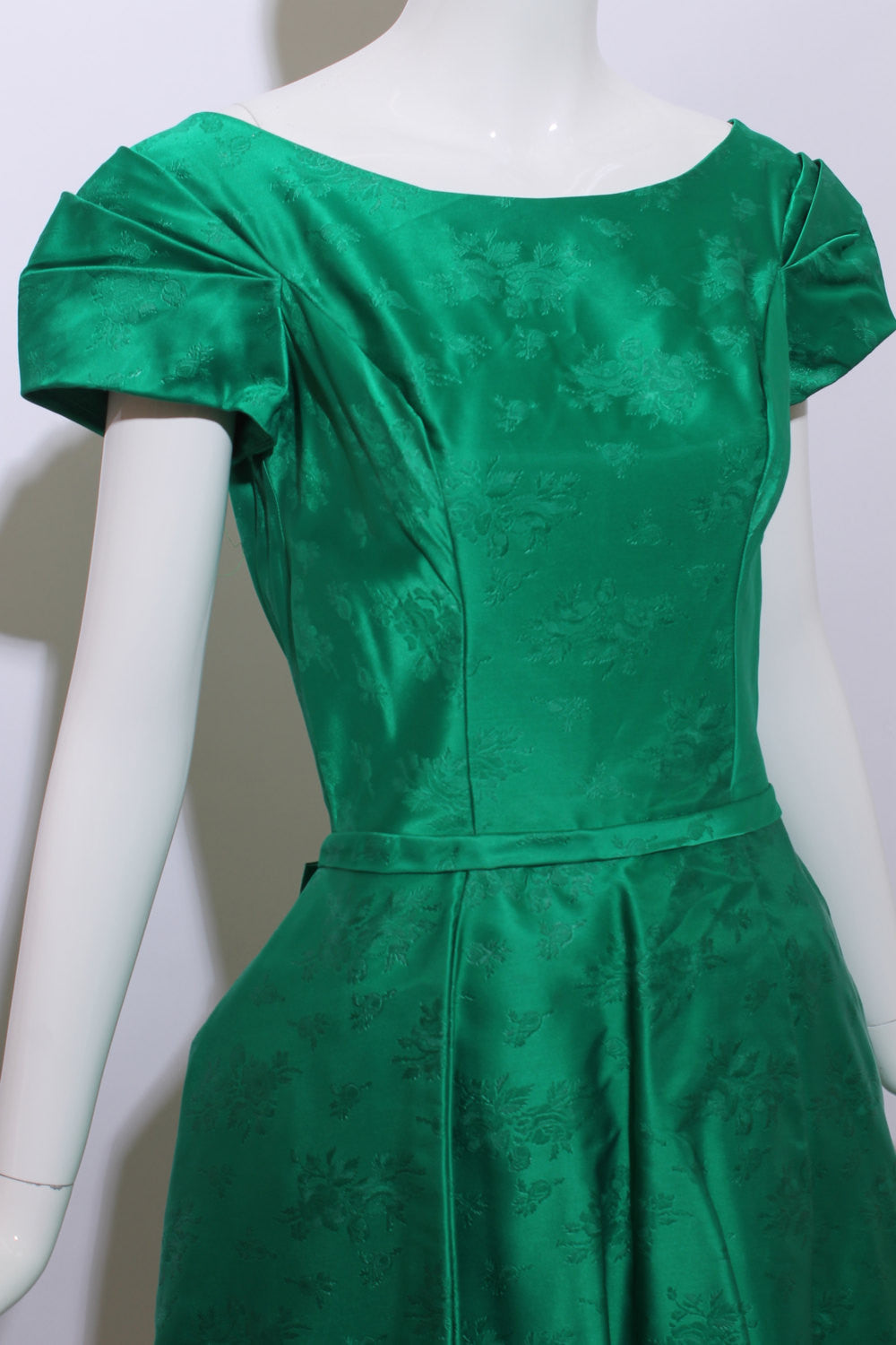 vintage 1950\'s 50\'s emerald green satin gown embroidered floral ...