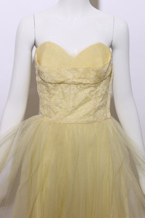 vintage 1950's 50's strapless yellow tulle fit flare gown formal embroidered mesh boning corset XXS-XS