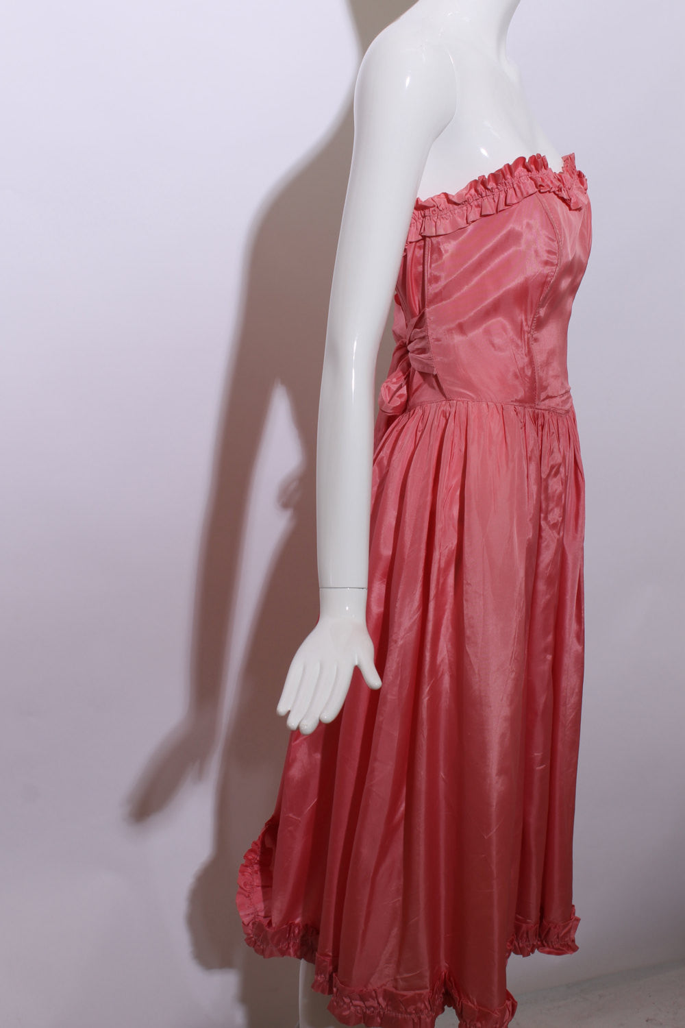 vintage 1950's 50's strapless pink taffeta gown ruffle ball party formal corset bright bubblegum satin XS-S