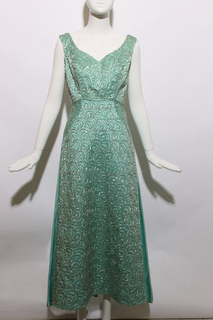 Vintage 1950s 50s Sequin Ball Gown Pastel Blue Fantasy Formal Dress Sequined Embellished Glamorous Full Skirt