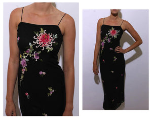 vintage 1990's 90's black maxi dress floral embroidered sleeveless prom formal stretchy XS-S