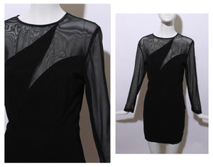 vintage 1990's 90's micro mesh black body con mini dress sheer zig zag stretch lbd clubwear M-L