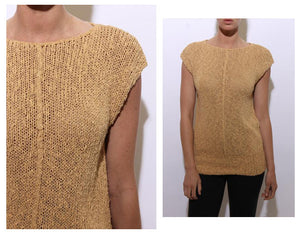 vintage 1980's 80's honey knit top woven chunky knitted shirt pullover blouse sweater S-M
