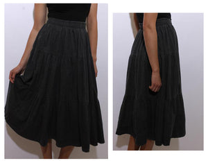 vintage 1980's 80's dray denim tiered skirt ruffled western jeans maxi below knee dark wash M-L