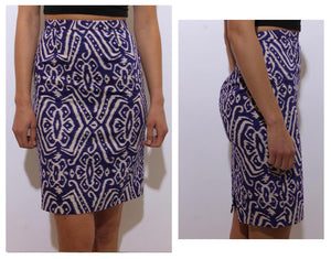 vintage 1980's 80's batik print pencil skirt fitted high waist purple white pattern tribal S-M