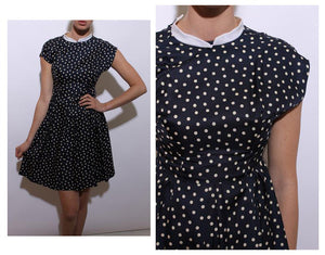 SOLD vintage 1960's 60's polka dot dress navy cream white dots print collar full skirt cute XS-S