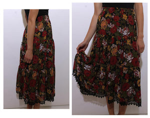 vintage 1980's 80's rose print tiered maxi skirt crochet trim floral pattern long S-M