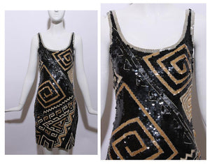 vintage 1980's 80's embellished black silk mini dress deco beaded sequins geometric sleeveless flapper party XS-S