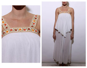 vintage 1970's 70's white gauze maxi dress embroidered straps floral hippie tiered sleeveless XS-S