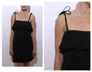 vintage 1990's 90's ruffled black mini dress tiered sleeveless double straps stretchy M-L