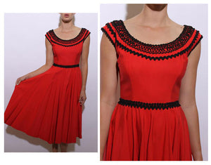 vintage 1950's 50's red gown fitted waist party dress formal sleeveless full skirt black ribbon trim S-M