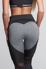 Gym Glamour - High Waist Heart Leggings (Sort/Grå)
