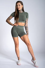 Gym Glamour - Amy Seamless Shorts (Khaki)