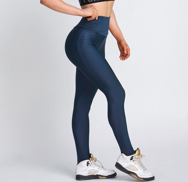 Gym Glamour - High Waist Leggings (Navy Blå)