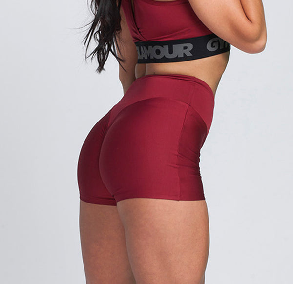 Gym Glamour - High Waist Shorts (Bordeaux)