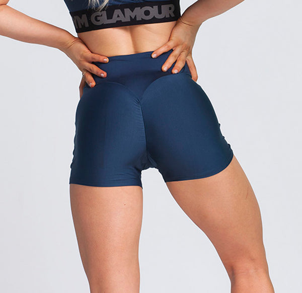 Gym Glamour - High Waist Shorts (Navy Blå)